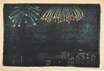 Oda Kazuma Fireworks in Osaka (lithograph)