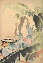 Mishima Shoso Beauty Seated Beneath a Banana Tree Combing Her Hair Beside a Lacquer Basin