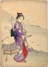 Ogata Gekko Dancer with Folding Fan (Butterfly Maiden)