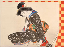 Miyagawa Shuntei seated beauty framed by checkerboard border