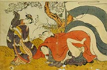 Isoda Koryusai young woman watching a man in a fox-mask making love to his partner under a cherry tree
