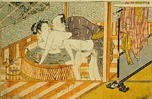 Isoda Koryusai couple making love in front of the <i>ofuro</i> (bathtub)