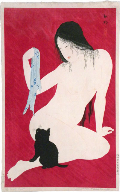 Shotei, Nude Playing with Cat