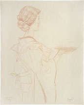 Paul Binnie Caf� Waitress- 1st Study preparatory drawing