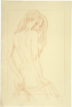 Paul Binnie Alluring Figure preparatory drawing with border