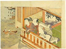 Isoda Koryusai couple making love on veranda overlooking a river