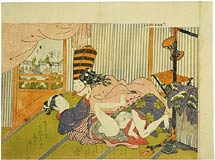 Isoda Koryusai man dressed as a <i>sambaso</i> dancer making love to a courtesan