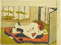 Isoda Koryusai couple making love in front of a plum blossom screen with Mt. Fuji visible through a window