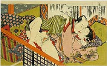 Isoda Koryusai man and woman kissing playfully in front of a bamboo screen