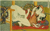 Isoda Koryusai couple in throes of love in front of a kimono stand