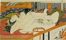 Isoda Koryusai lovers in ecstasy in front of a screen depicting a waterfall