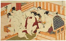 Isoda Koryusai men and women intermingling in bathouse
