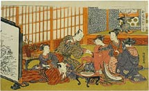 Isoda Koryusai frontispiece depicting a gathering