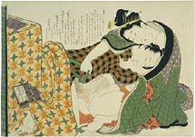 Hokusai, Illustrated Models of Couples: plaid robe