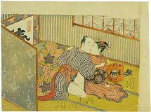 Isoda Koryusai couple making love under the <i>kotatsu</i>