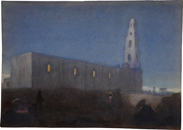 Style of Charles W. Bartlett, Moonrise- Village Church in the Chapala Region
