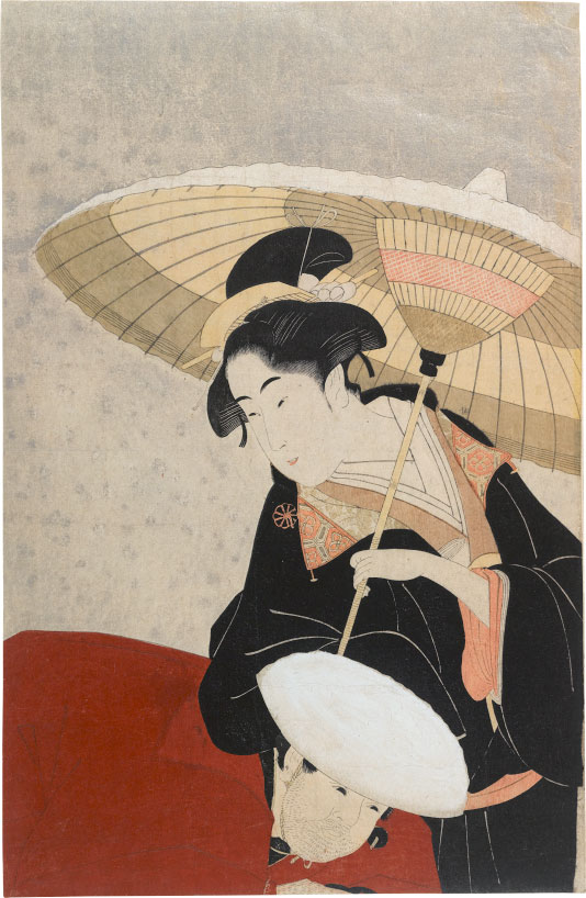 Eishosai Choki Woman and Servant in Snow