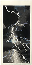 Izazuma - Lightning, woodblock print