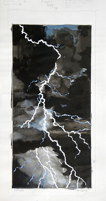 Japanese Art Paul Binnie Inazuma Lightning Watercolor And Proof
