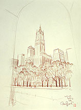 Paul Binnie, New York Sunset, original drawing