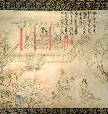 Japanese painting story of Zenzai Doji