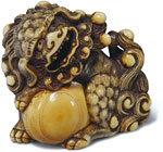 shishi and ball netsuke