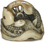 carp and waterwheel netsuke
