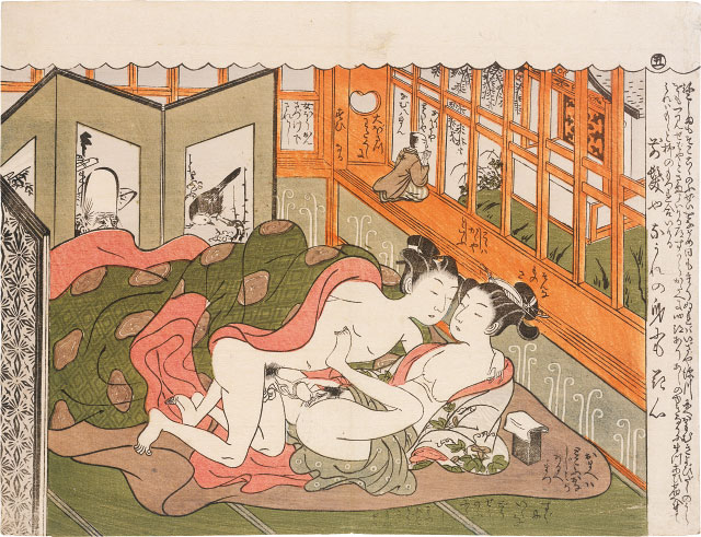 Isoda Koryusai,  Poems of the Wife and Husband Mane emon 5, Praying