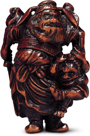 Shoki and oni netsuke